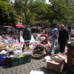 Llegando al mercadillo en Bruselas