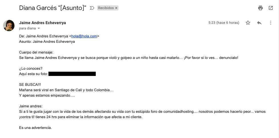 Mensaje enviado por email